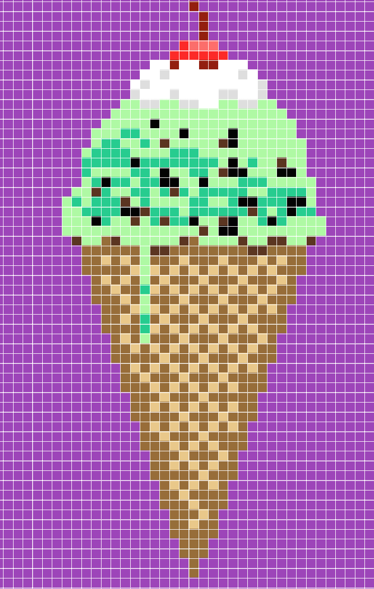 645fb8436e0bb Perler Bead Ice Cream Pixel Pop Art with Pattern 12 x 12 inches. Kyle McCoy